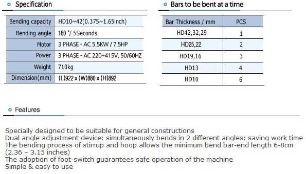 TYB-HD42A Specs