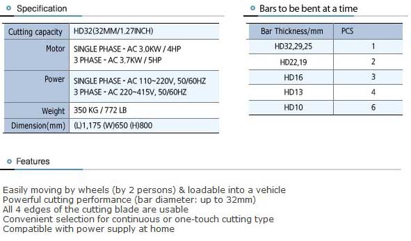 TYC-HD32C Specs